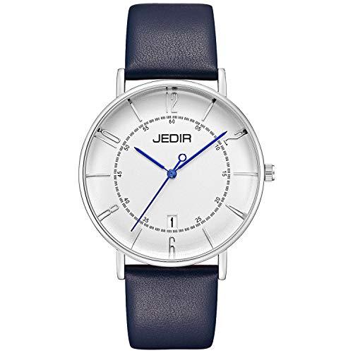 JEDIR Herren Klassische Einfache Uhren Thin Großes Zifferblatt Blau Zeiger Arabisch Zahlen Kalender Lederband