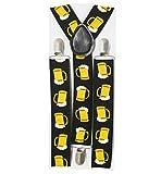 Bierkrug-Hosenträger, schwarz mit kleinen Bierkrügen, Y-Form