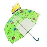 Kinder Schirm für Jungen-Stockschirm mit Sicherheitsöffnung - Robuster und Windfester Regenschirm mit Transparenter Panel für 3 bis 6 Jahre-Auto(Grün)