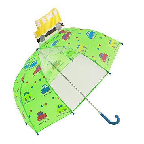 Ombrello per Bambini, Hibbent Ombrello da Pioggia per Bambino e Bambina, con Spicchio di Cupola Trasparente, Macchine e Autobus, Verde