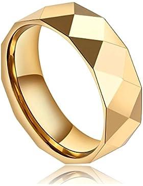 Epinki Herren Wolframcarbid Ringe, 7MM Wolfram Herrenringe Dreieck Gitter Titanringe Einzigartig Bandringe Gold...