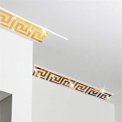 Griechische Muster (Hippicity Acryl-Spiegel-Wandaufkleber, Geometrisches Muster, griechisches Muster, Acryl-Kunststoff, Wanddekoration, 10 x 10 cm Gold)