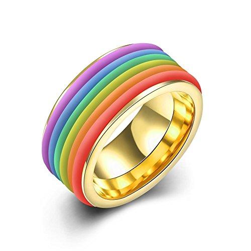 NYKKOLA-10mm Fede Nuziale da Uomo in Acciaio Inox Placcato Oro Colorato larghezza anello di fidanzamento (Oro Giallo Mens Wedding Band)