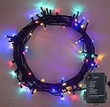 Weihnachtsbeleuchtung, Lichterkette 100 LED MEHRFARBIG Innen- und Außen Verwendung 8 Modi mit Memory & Timer Funktion, batteriebetrieben - 10m / 33ft Lit Länge Green Kabel