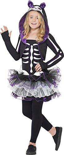 Kostüme Blonde Halloween Mädchen (Smiffys, Kinder Mädchen Skelly Cat Kostüm, Kleid und Bolero mit Kapuze, Größe: L,)