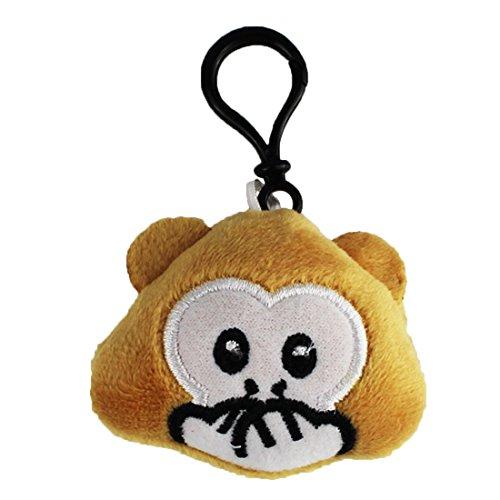 Emoji Schlüsselanhänger AFFE MUND ZU Smiley aus Plüsch Speak-No-Evil Monkey erschrocken hochwertiger Emoticon Anhänger mit Schlaufe und Karabiner-Haken von wortek