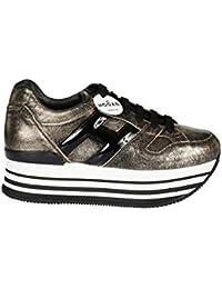 Hogan H283 Maxi H222 Sneakers Donna Allacciata Oro Pallido H Grande Nera 41823957784