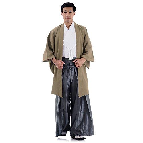 amurai Kimono Set 3 Teile Kendo Gi + Hakama + Haori Baumwolle M L XL (Beige & Weiß & Grau) ()