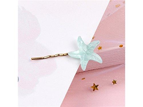 Haarspangen-Zubehör Seestern Form Side Clip Haarnadel ein Wort Haarspangen Haarschmuck (hellblau) Frucht BB Haarspange