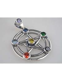 Pendant Silver Pentagram Stone L4cm 0XJ1j9A