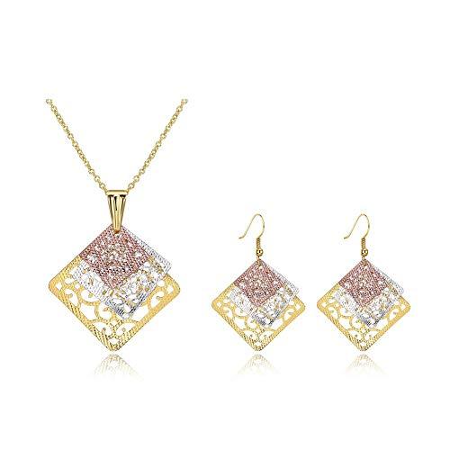 Thumby Women's Offiziellen Kupfer Quadrat Halskette Ohrringe Set K Gold Zirkon Zweiteilige Set Platz Hohlen DREI-Farben-Anhänger Halskette Ohrringe Frauen Anzug, Gold