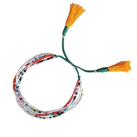 KELITCH Coloré Petit Perles Bracelets Fait Main Gris Gland Multi Brin Bracelet Nouveau Mode Bijou (Orange)