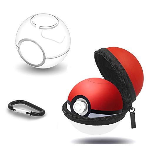 leegoal Tragetasche und klarer Fall für Poke Ball Plus, schützende hart Zip Tasche mit Schlüsselbund für Nitendo Switch Zubehör Pokeball