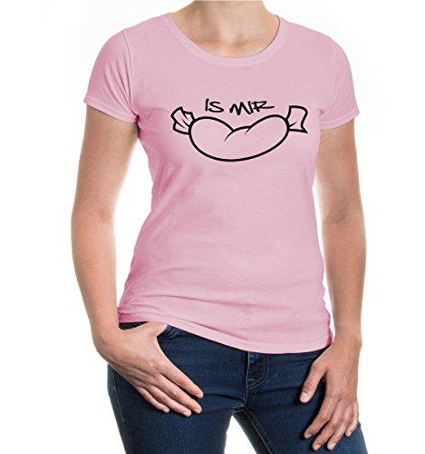buXsbaum® Girlie T-Shirt Is mir Wurst Lightpink-Black