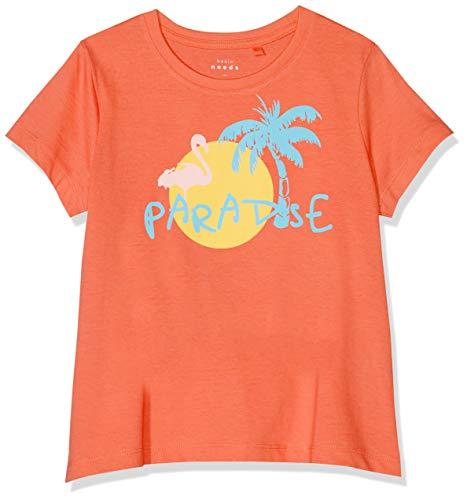 NAME IT Mädchen NKFVIOLET SS TOP H T-Shirt, Orange (Emberglow), 122 (Herstellergröße: 122-128)