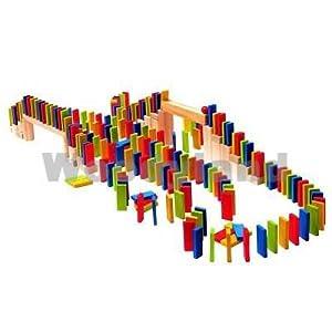 200 Unidades / Piedras Bloques de Madera - Ladrillos de Madera del día de Domino Juguetes de Madera - Kinderland - Bloque para Niños Chicas Chicos