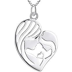 YL Collier mère-fils en argent 925 avec mère et enfant Amour Coeur Collier avec pendentif Cadeaux pour maman (45 + 5cm)