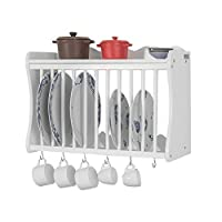 SoBuy® FRG275-W, Wall Mounted Kitchen Plate Cup Rack, Kitchen Storage Rack Shelf