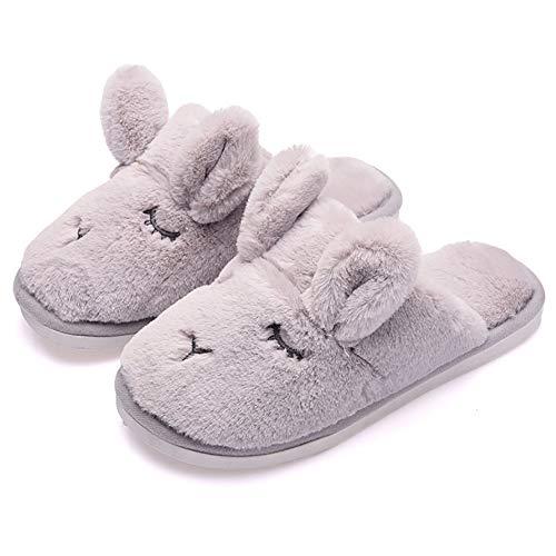 JIANKE Chaussons Hiver Femme Hommes Pantoufles Mignon Lapin Maison Confortable Chaussures Chaudes(Gris,38-39)