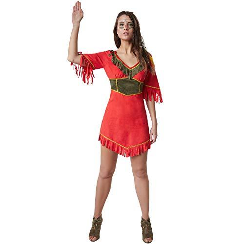 Dressforfun 900520 - costume donna adulti bella mohicana, miniabito da indiana dall'effetto pelle scamosciata (m | no. 302599)