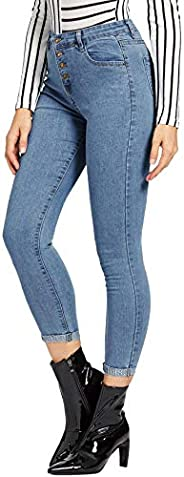 SheIn Women's Button Front Mid Waist Stretchy Skinny Denim Jeans With Po