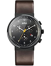 Braun Men's Quartz Watch with Black Dial Chronograph Display and Brown Leather Strap BN0035BKBRG