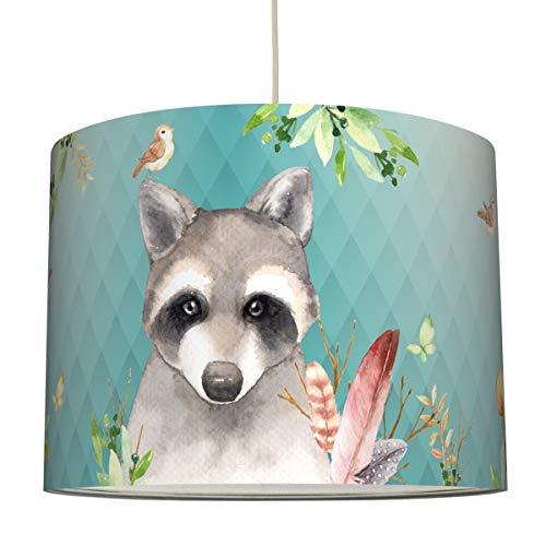 anna wand Hängelampe Friendly Forest/Mint - Lampenschirm für Kinder/Baby Lampe mit Waldtieren - Sanftes Kinderzimmer Licht Mädchen & Junge - ø 40 x 34 cm