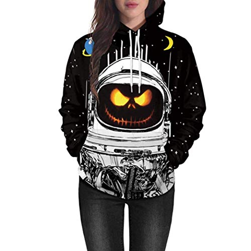 Qiusa Frauen-Tops Clearance Lovers Scary Halloween Kürbis Grimasse Schädel Geister 3D Print Party Hoodie Top Sweatshirt (Farbe : 1-Multicolor, Größe : CN MUK 14) (Halloween 3d Pics)