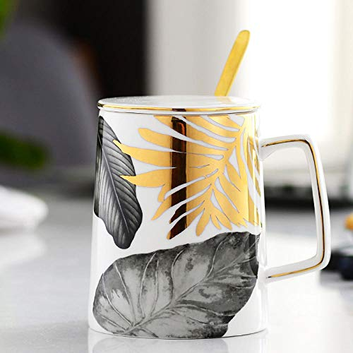 MIC-moonjack Becher Keramiktasse Kaffeetasse Teetasse Mit DeckellöFfel 450 Ml@EIN