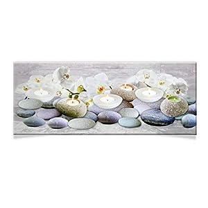 DRULINE LED Wandbild | Leinwand | Bild | Beleuchtet | Batteriebetrieben | Fotografie | Indoor | Teelichter & Steine | Keilrahmen | 100 x 40 x 2 cm