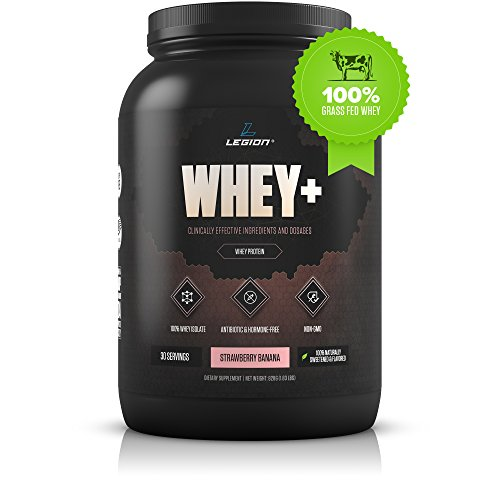 Legion Athletics Whey+ Strawberry Banana Protein Powder - Best Tasting Isolate Protein Shake From Grass Fed Cows For Weight Loss, Bodybuilding, & Recovery All Natural, Low Carb, Lactose Free 30 Svgs!