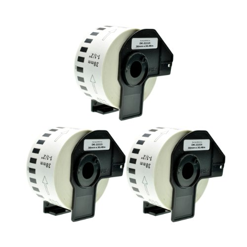 Logic-Seek 3X Endlos-Etikett kompatibel für Brother DK22225 38mm x 30,48m P-Touch QL-1050 1060N 500 550 560 570 580 700 500 A BS BW 560 VP YX 580N 650TD 710W 720NW - Ql P-touch 500 Brother