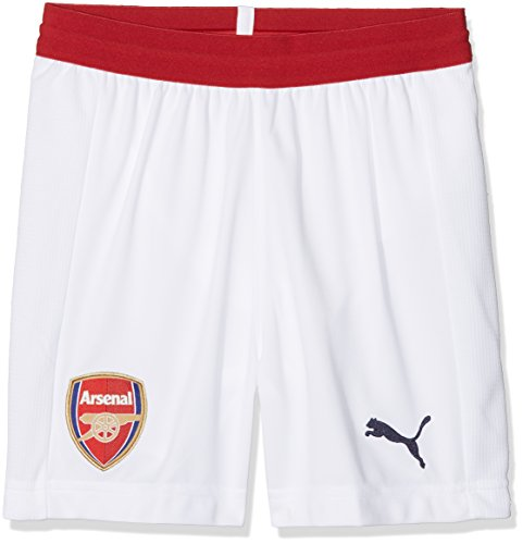 Puma Arsenal FC Replica Pants, Unisex niños, White/Chili Pepper, 140
