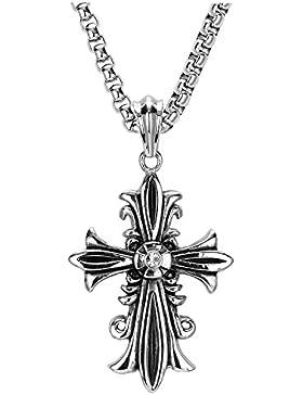 APE7® Edelstahl Königlich Keltisches Kreuz Anhänger Lilienkreuz Fleur-De-Lis mit oder ohne Kette Edelstahl Halskette...