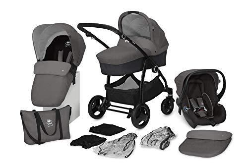 cbx 3-in-1 Kombikinderwagen-Set Leotie Pure 12-teilig mit Babyschale Shima, Faltbare Babywanne, 2x Regenverdeck, 2x Moskitonetz, Comfy Grey