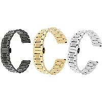 Sharplace 3 Stücke Ersatz Sport Uhrenarmband Metall Uhrband Sportband -22mm (Silber + Gold + Schwarz)