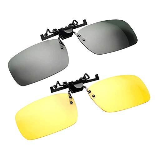 Vosarea Clip 2-teilige Sonnenbrillen für abgestufte Vorscheine, Flip Up ohne Rahmen, Blendfreie Nachtsichtlinse zum Fischen