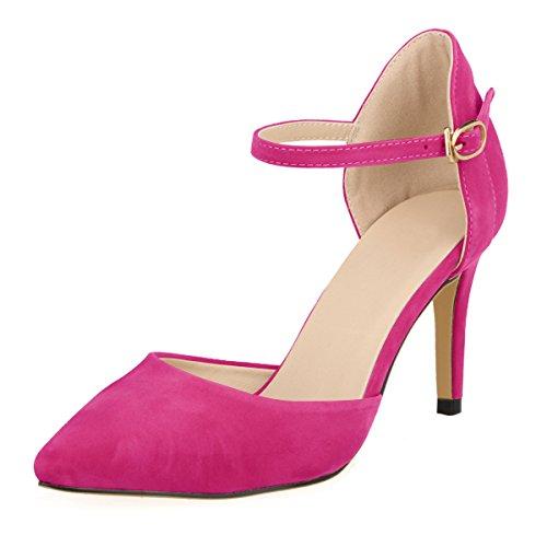 DULEE Damen Strap Stiletto Heel Spitzschuh Sandalen High Heel Pumps,Fuschia 39 Pink Stiletto