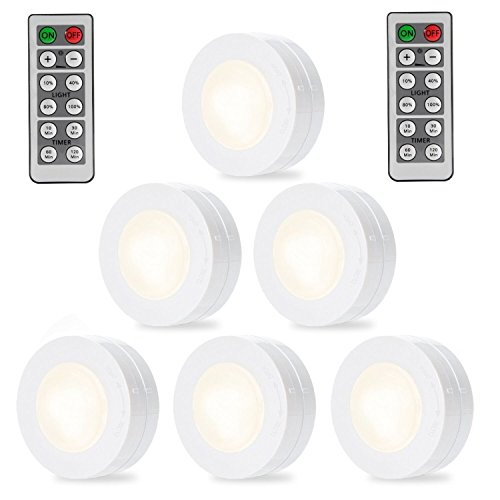Litake LED Puck Lights Remote Controlled Closet Lights Super Bright Under Cabinet Lighting Round Shape Battery Powered Dimmable Light (6 pack with remote control)