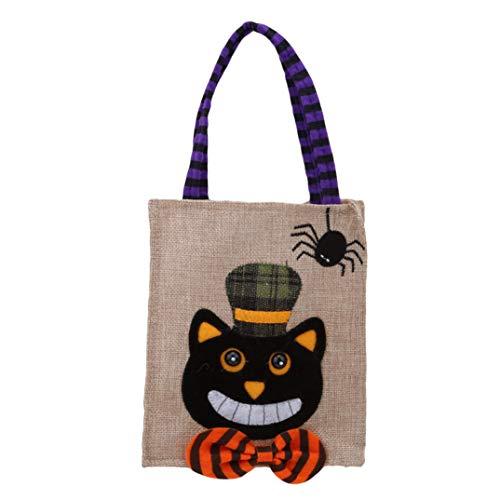 JOOFFF Süßigkeitstasche Kürbis Halloween Süßigkeitstasche Geschenk Tasche Urlaub Leckereien Taschen Cookie Tasche Halloween Party Supplies Dekoration, Schwarze Katze