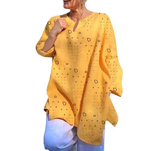 Bluse Damen Elegant Langarm Bedruckte Shirts V-Ausschnitt T-Shirt Freizeit Locker Oberteile Home Pendeln Tops Strand Tunika (4XL, Gelb) Lace Cowl