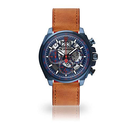 DETOMASO LIVELLO Mens Wristwatch Chronograph Analogue Quartz Brown Leather Strap Blue red dial DT2060-D-822
