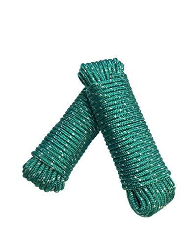Seil 8 mm 40 m - 2 Stück-Set - Polypropylenseil PP, Festmacherleine, Allzweckseil, Strick, Gartenseil, Outdoor - Bruchlast: 700kg, 40m x 8mm 2er Set (2x 20 m), grün-weiß