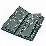 Juego de agujas de tejer circulares de acero inoxidable, 11 unidades, 80 cm, diferentes tamaños, 1,5 mm a 5 mm
