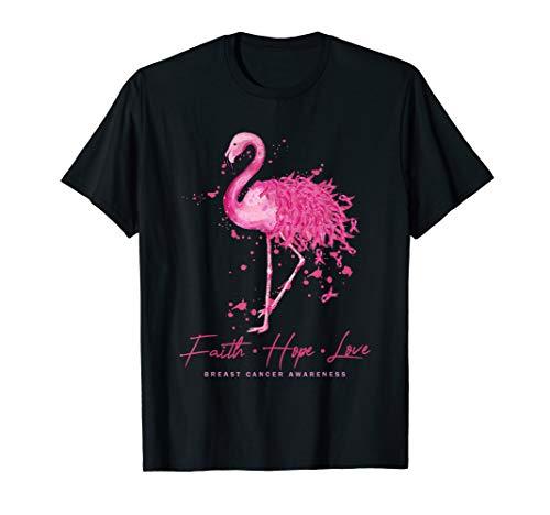 Faith Hope Love Flamingo Pink Ribbon Breast Cancer Awareness T-Shirt -