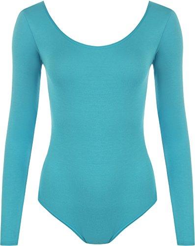 WearAll - Damen Übergröße Body Gymnastikanzug Top - 12 Farben - Größe 44-54 Türkis