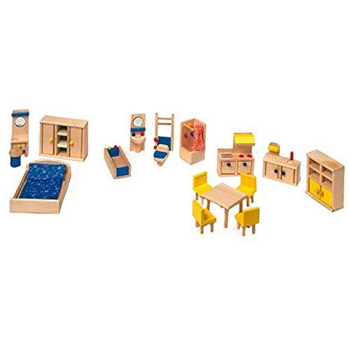 Puppenhausmöbel Set aus Holz, 18-teilig mit Küche, Badezimmer und Schlafzimmer, mit viel Liebe zum Detail gestaltet