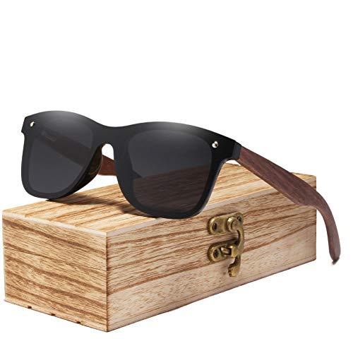 Zbertx Mens Sonnenbrillen polarisierte Walnuss Holz Spiegel Objektiv Sonnenbrille Frauen Bunte Shades Handmade,Grau
