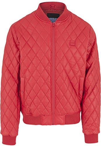 Urban Classics Herren Jacke Jacke Diamond Quilt Leather Imitation Jacket rot (Fire Red) XX-Large