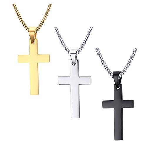 Vnox 3 Pedazos de Acero Inoxidable de los Hombres Simple Simple Cruz Colgante Collar con Cadena Libre, Negro de Plata de Oro,Paquete de 3